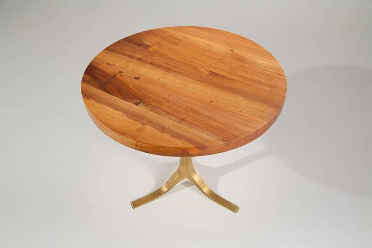 Round Table in Reclaimed Hardwood, Sand-cast Brushed Brass Base, by P.Tendercool 2