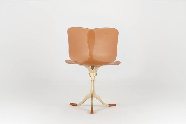 Thai Bespoke Sand Cast Brass Chair in Châtaigne Leather by P. Tendercool For Sale