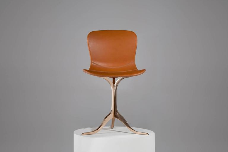 Bespoke Chair In Leather And Polished Solid Bronze By P