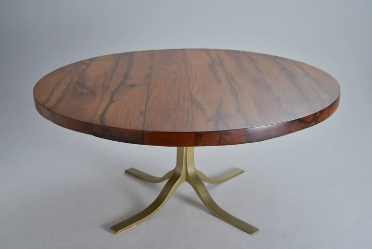 Bespoke Reclaimed Hardwood Round Table on Sand-Cast Brass Base, by P. Tendercool 4