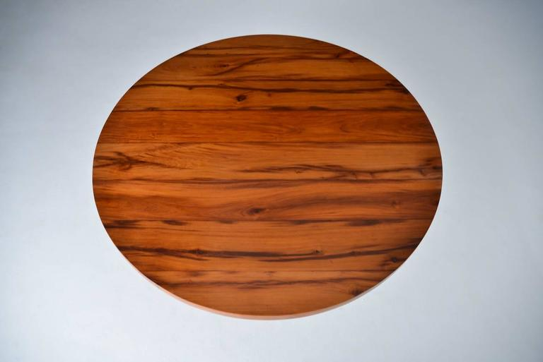 Bespoke Reclaimed Hardwood Round Table on Sand-Cast Brass Base, by P. Tendercool 3