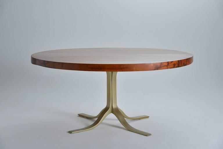 Bespoke Reclaimed Hardwood Round Table on Sand-Cast Brass Base, by P. Tendercool 2