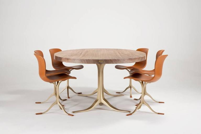 Bespoke Oval Table, Two Slabs of Antique Reclaimed Wood on Sand-Cast Base In Excellent Condition For Sale In Bangkok, TH