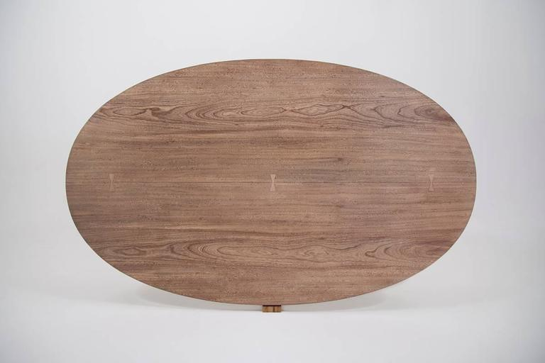 Bespoke Oval Table, Two Slabs of Antique Reclaimed Wood on Sand-Cast Base For Sale 1