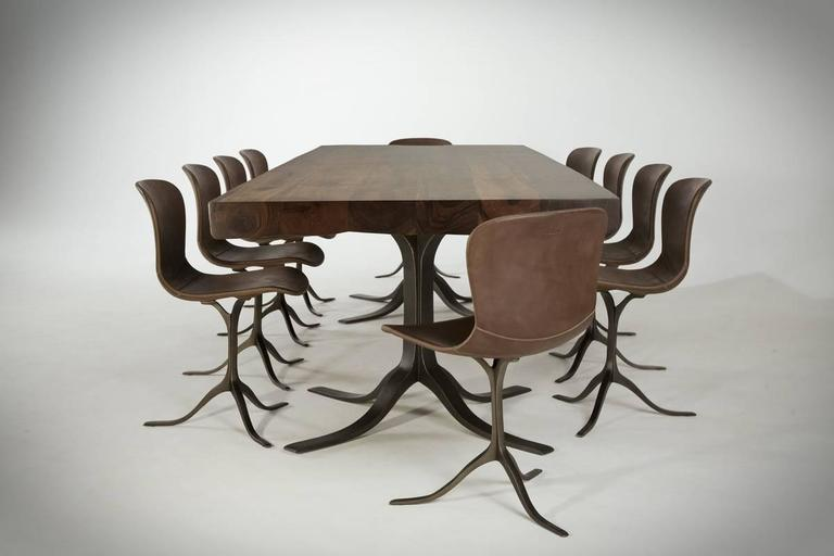 Minimalist Ten-Top Dining Table, Reclaimed Wood & Brass, Matching Chairs, by P. Tendercool For Sale