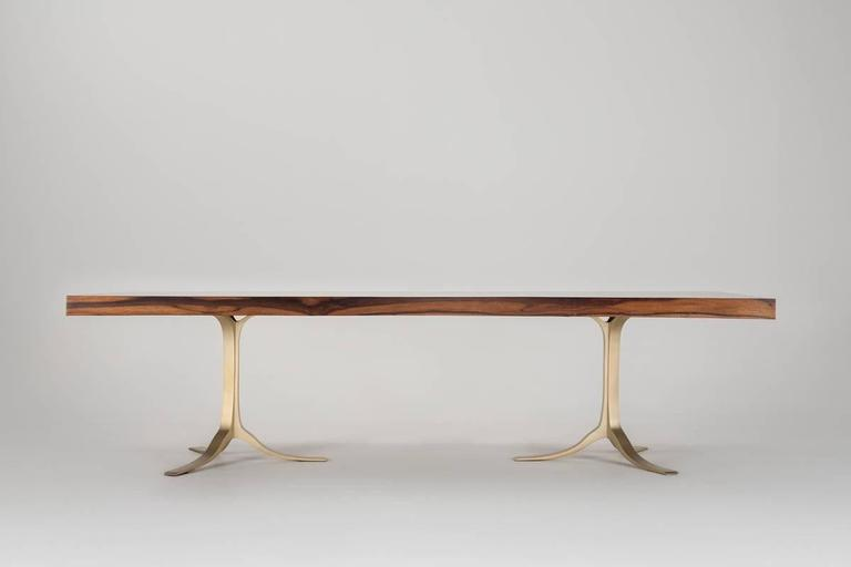 Ten-Seat Bespoke Reclaimed Hardwood Table, on Solid Brass Base by P.Tendercool 2