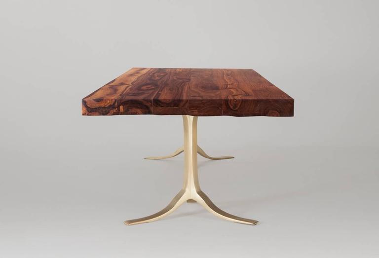Ten-Seat Bespoke Reclaimed Hardwood Table, on Solid Brass Base by P.Tendercool 3