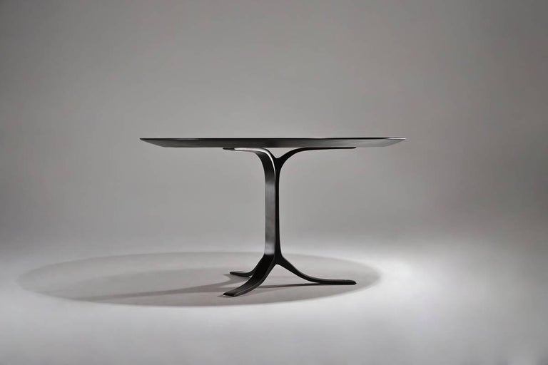 Minimalist Bespoke Round Table with Polyurethane Color Black Finish by P. Tendercool For Sale