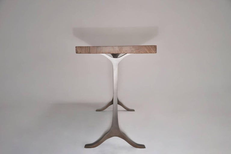 Minimalist Antique Hardwood Console Table on Sand-Cast Base by P. Tendercool For Sale
