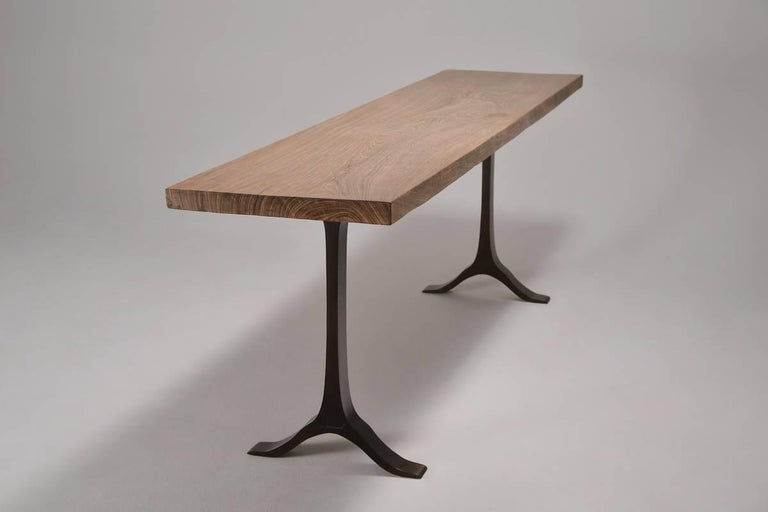 Thai Antique Hardwood Console Table on Sand-Cast Base by P. Tendercool For Sale