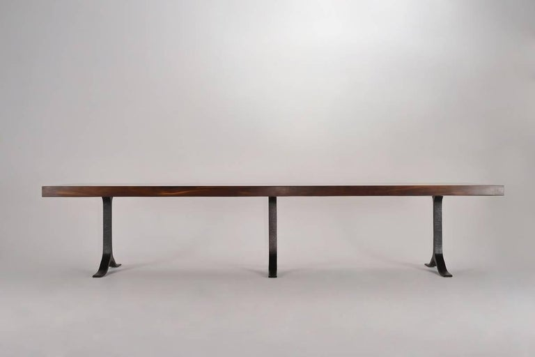 Minimalist Reclaimed Hardwood Dining/Conference Table on Bronze Base by P. Tendercool For Sale