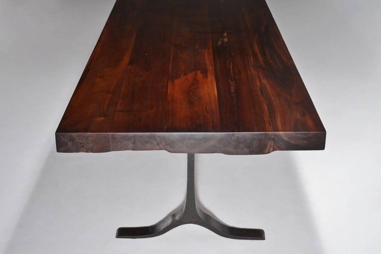 Thai Reclaimed Hardwood Dining/Conference Table on Bronze Base by P. Tendercool For Sale