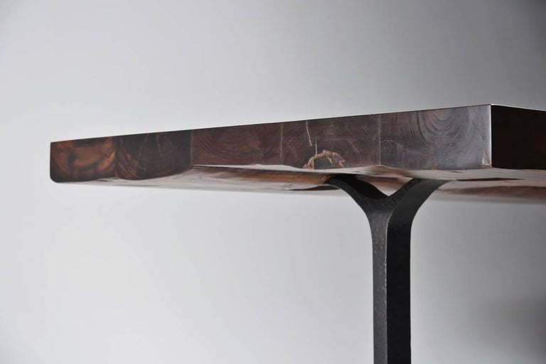 Reclaimed Hardwood Dining/Conference Table on Bronze Base by P. Tendercool In New Condition For Sale In Bangkok, TH