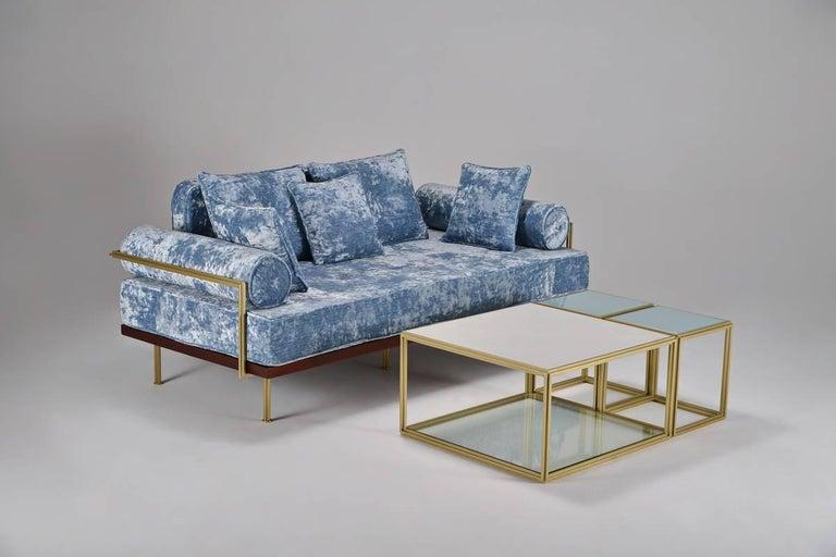 Bespoke Two-Seat Sofa in Modelli Fabrics, Fantasia-Blue Lagoon by P.Tendercool 2