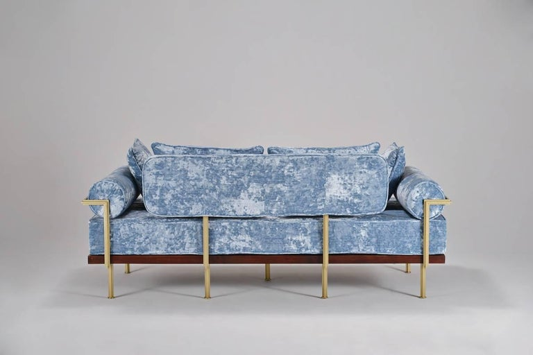 Hand-Crafted Bespoke Two-Seat Sofa in Modelli Fabrics, Fantasia-Blue Lagoon by P.Tendercool For Sale