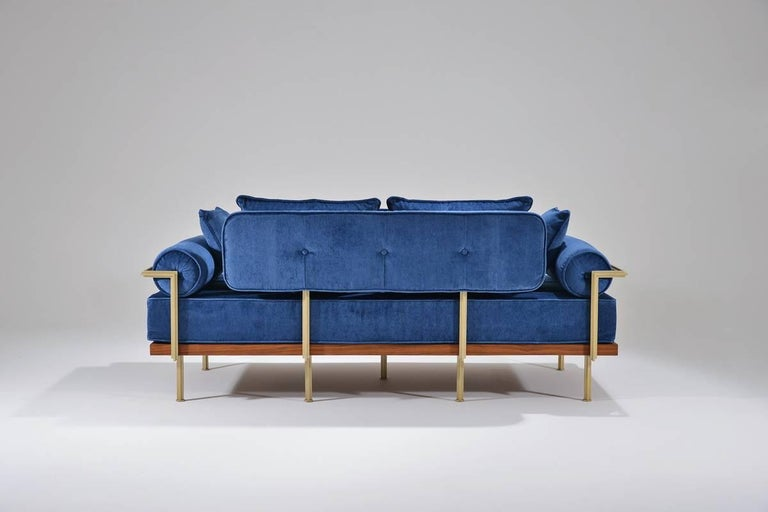 Hand-Crafted Bespoke Two-Seat Sofa in Reclaimed Hardwood and Brass Frame, by P. Tendercool For Sale
