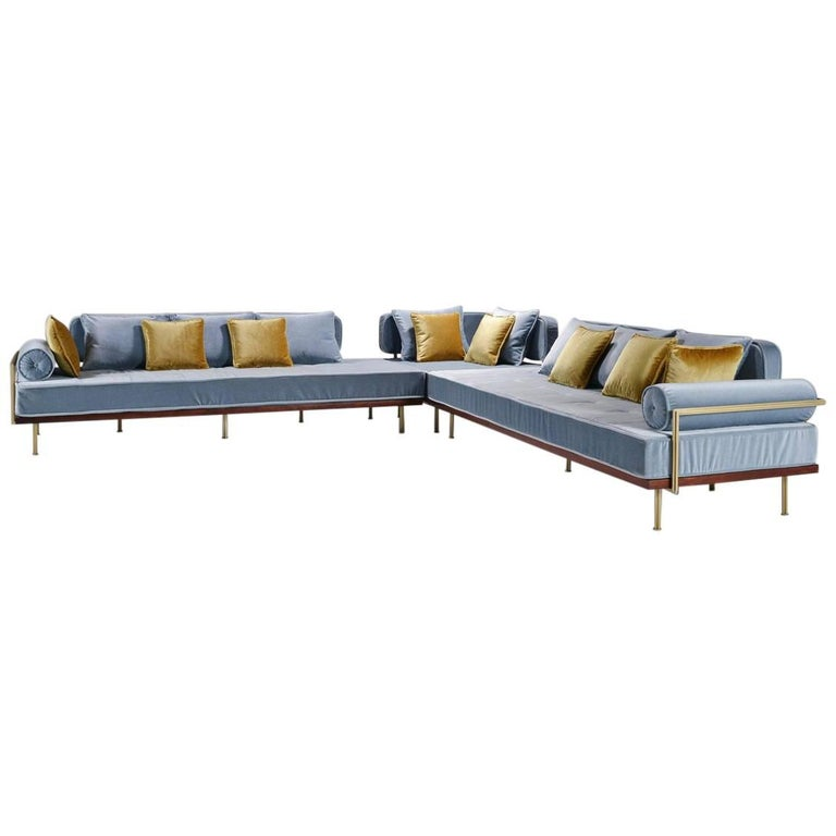 Bespoke Sectional Sofa with Brass and Reclaimed Hardwood