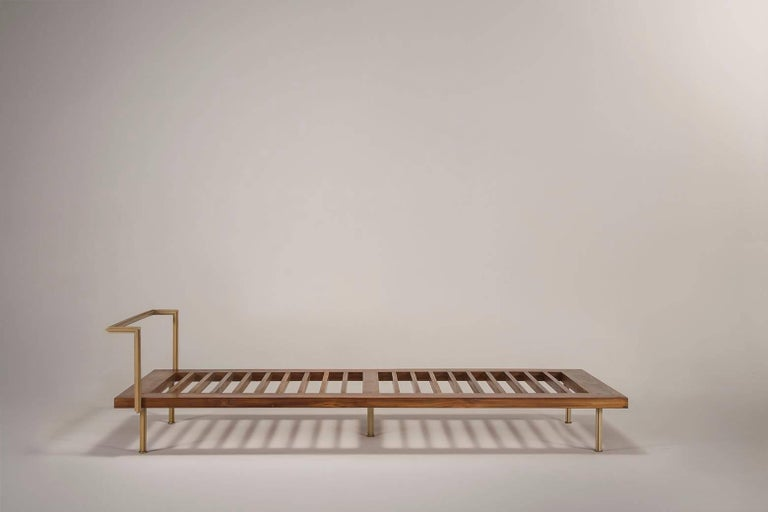 Mid-Century Modern Bespoke Daybed, Reclaimed Hardwood in Brass Golden Sand Finish by P. Tendercool For Sale