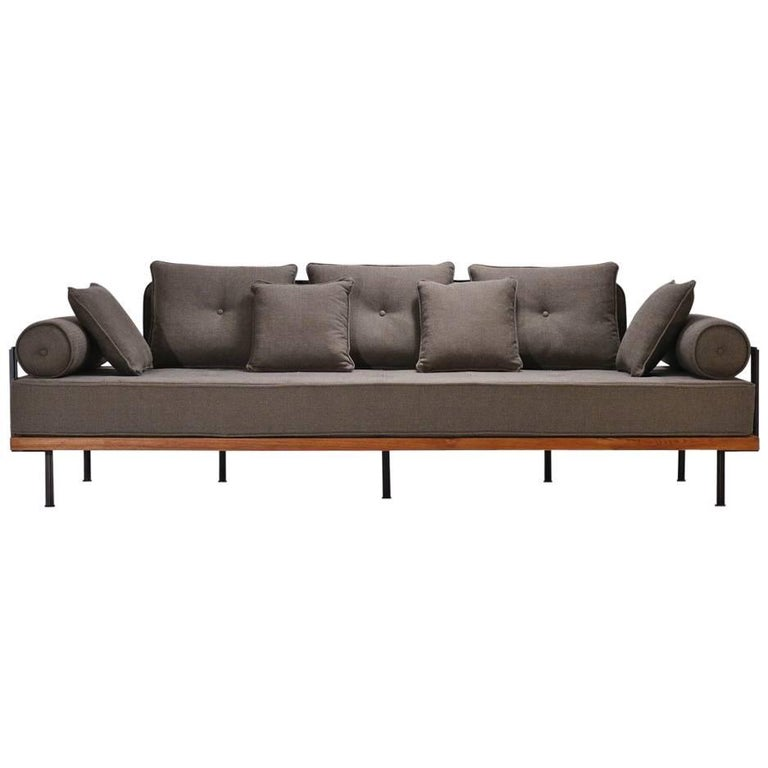 Bespoke Three-Seat Sofa with Brass and Reclaimed Hardwood Frame by P. Tendercool For Sale