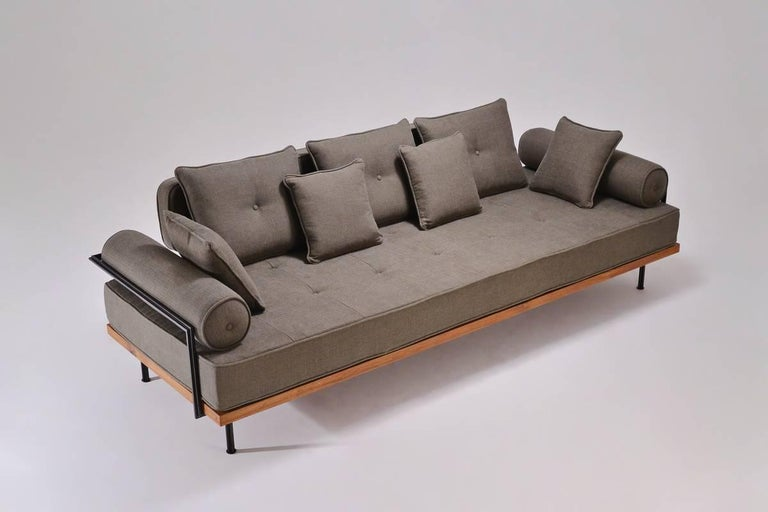 Mid-Century Modern Bespoke Three-Seat Sofa with Brass and Reclaimed Hardwood Frame by P. Tendercool For Sale