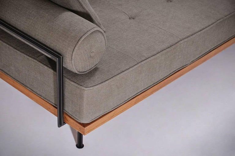 Hand-Crafted Bespoke Three-Seat Sofa with Brass and Reclaimed Hardwood Frame by P. Tendercool For Sale