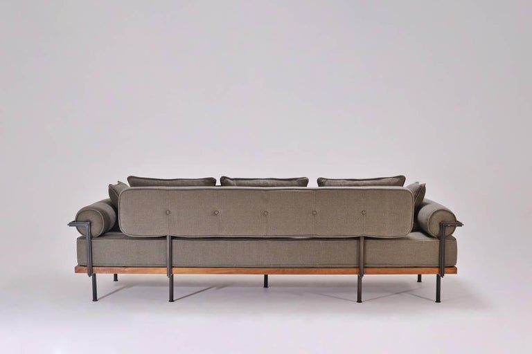 Bespoke Three-Seat Sofa with Brass and Reclaimed Hardwood Frame by P. Tendercool In New Condition For Sale In Bangkok, TH