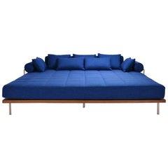 Bespoke Outdoor Lounge Bed in Reclaimed Hardwood & Brass Frame