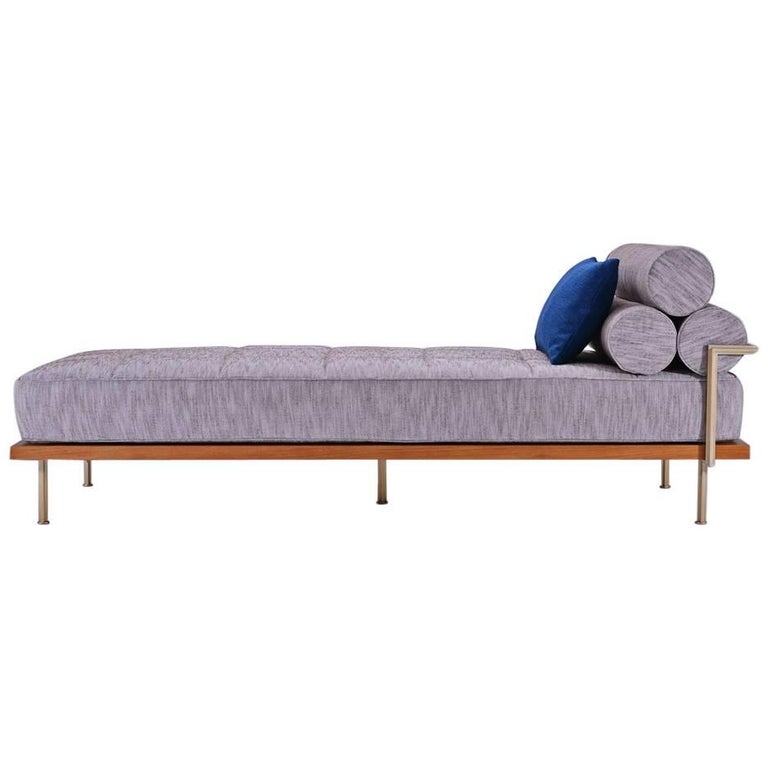 Bespoke Outdoor Daybed, Reclaimed Hardwood and Solid Brass Frame by P.Tendercool