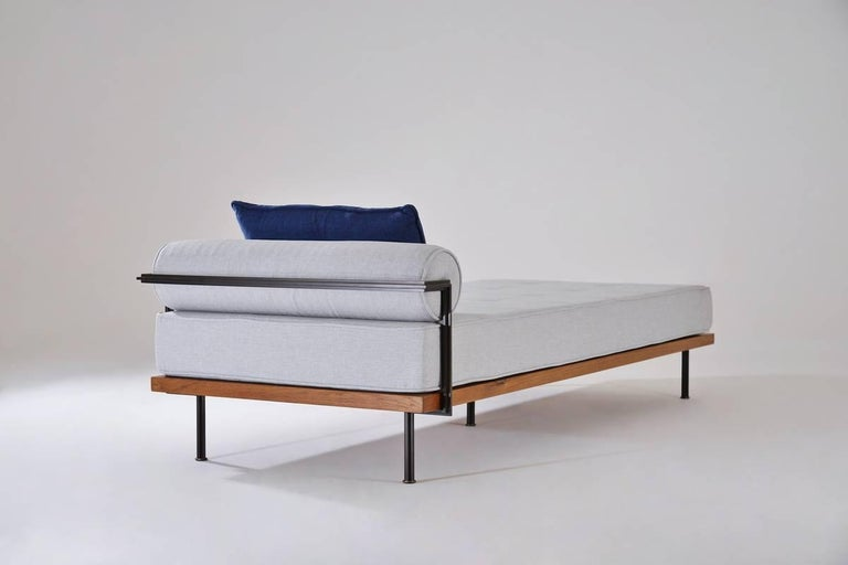 Bespoke Daybed, Reclaimed Hardwood and Blackend Brass Frames at 1stdibs