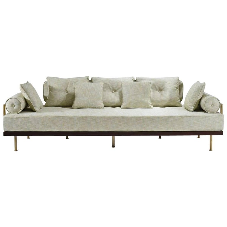 Bespoke Three-Seat Sofa with Brass and Reclaimed Hardwood Frame by P.Tendercool For Sale