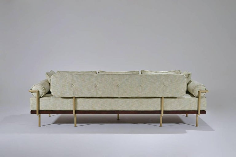 Thai Bespoke Three-Seat Sofa with Brass and Reclaimed Hardwood Frame by P.Tendercool For Sale