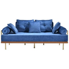 Bespoke Two-Seat Sofa in Reclaimed Hardwood and Brass Frame