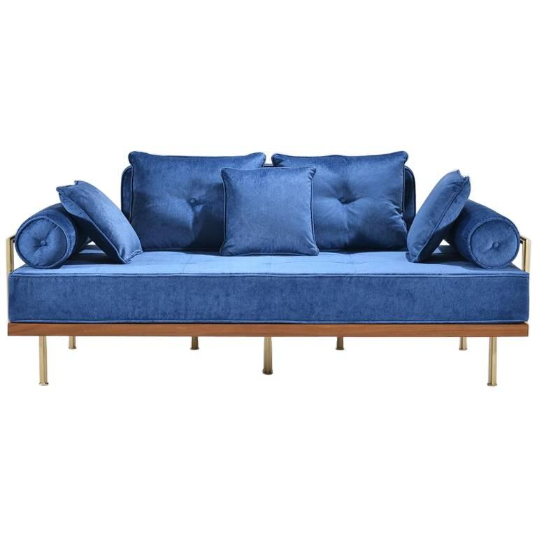 Bespoke Two-Seat Sofa in Reclaimed Hardwood and Brass Frame For Sale