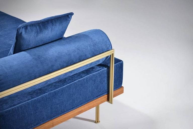 Thai Bespoke Two-Seat Sofa in Reclaimed Hardwood and Brass Frame For Sale