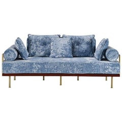 Bespoke Two-Seat Sofa in Modelli Fabrics, Fantasia-Blue Lagoon by P.Tendercool