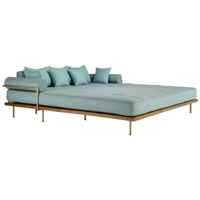 Bespoke Outdoor Lounge Bed in Reclaimed Hardwood & Brass Frame, by P.Tendercool For Sale