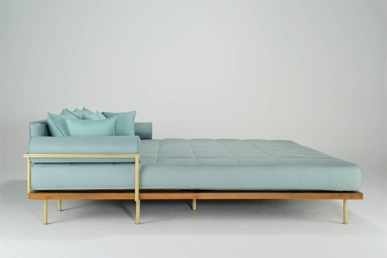 Mid-Century Modern Bespoke Outdoor Lounge Bed in Reclaimed Hardwood & Brass Frame, by P.Tendercool For Sale