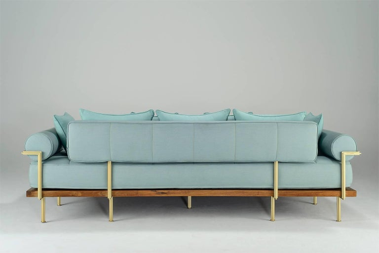 Thai Bespoke Outdoor Lounge Bed in Reclaimed Hardwood & Brass Frame, by P.Tendercool For Sale