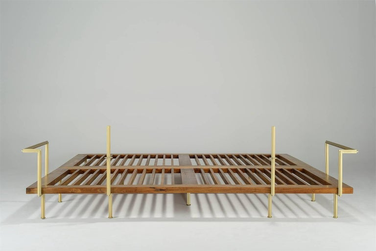 Bespoke Outdoor Lounge Bed in Reclaimed Hardwood & Brass Frame, by P.Tendercool In New Condition For Sale In Bangkok, TH
