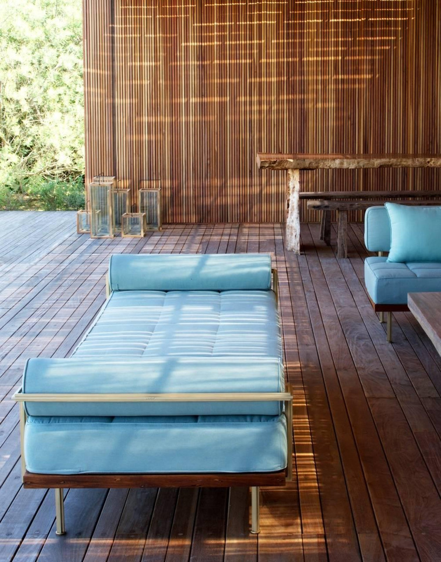 Bespoke Outdoor Double Daybed in Reclaimed Hardwood and Brass For ...