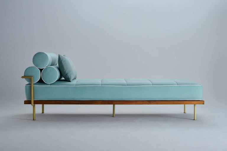 Mid-Century Modern Bespoke Outdoor Daybed with Solid Brass Frame by P. Tendercool For Sale