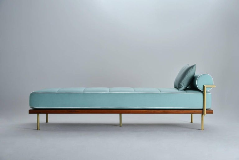 Hand-Crafted Bespoke Outdoor Daybed with Solid Brass Frame by P. Tendercool For Sale