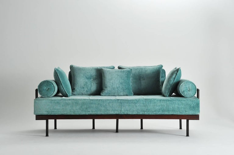 Model: PT71 two-seat sofa Frame: Reclaimed hardwood Frame finish: Wine tinted with water-based Polyurethane coating Structure: Extruded and hand-welded solid brass rods Structure finish: Brass brushed brown Seat material: 100% Latex Upholstery