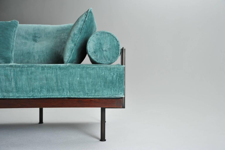 Mid-Century Modern Bespoke Handmade Loveseat, Reclaimed Hardwood  For Sale