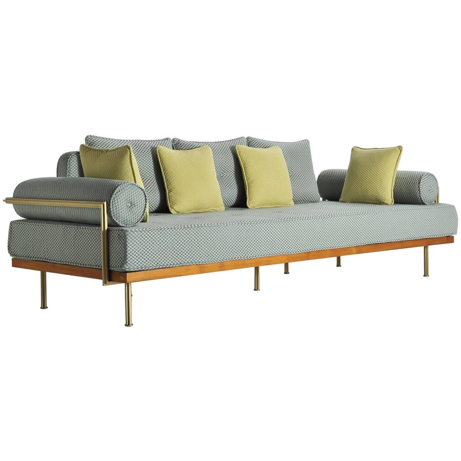 Mid century modern style sofa reclaimed hardwood brass frames for sale at 1stdibs