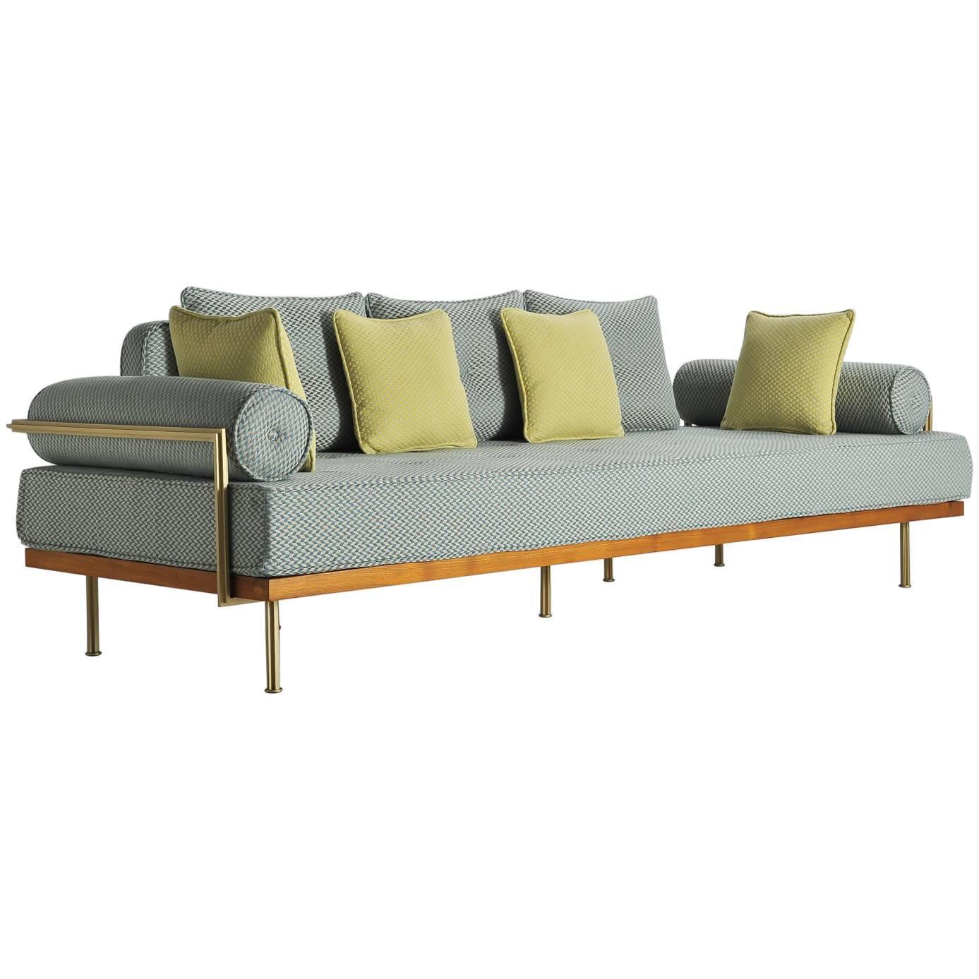 Mid Century Modern Style Sofa, Reclaimed Hardwood, Brass Frames For Sale