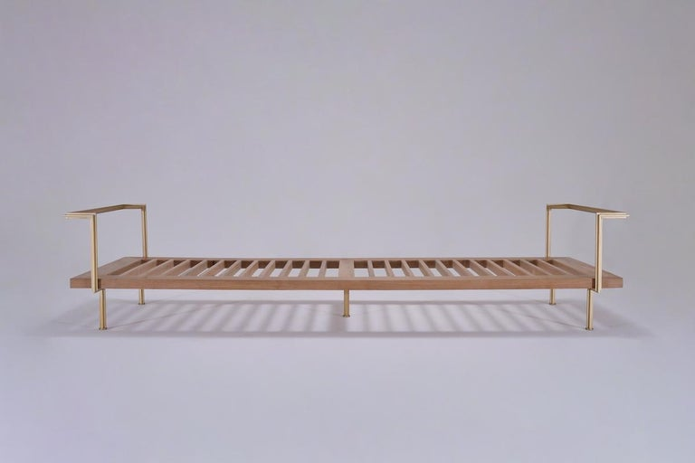 Mid-Century Modern Bespoke Double Daybed in Reclaimed Hardwood and Solid Brass Frame, P.Tendercool For Sale
