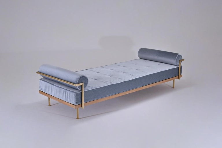Hand-Crafted Bespoke Double Daybed in Reclaimed Hardwood and Solid Brass Frame, P.Tendercool For Sale