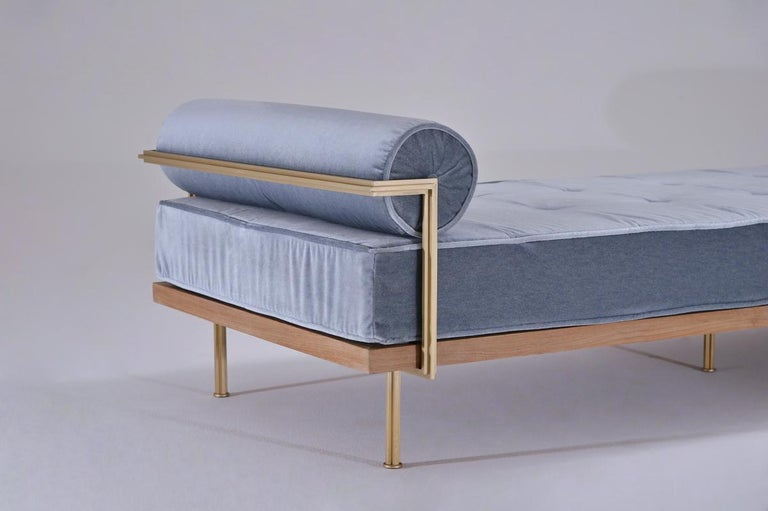 Contemporary Bespoke Double Daybed in Reclaimed Hardwood and Solid Brass Frame, P.Tendercool For Sale