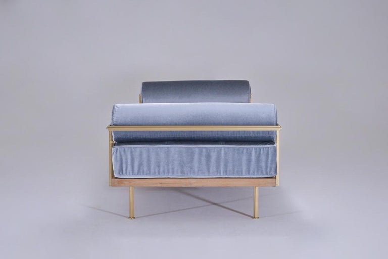 Bespoke Double Daybed in Reclaimed Hardwood and Solid Brass Frame, P.Tendercool For Sale 1